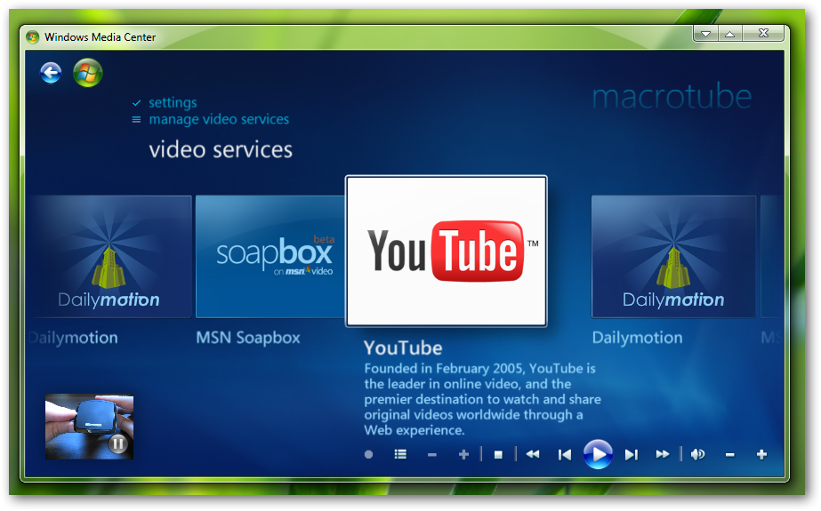 watch youtube in Windows 7 MediaCentre-4