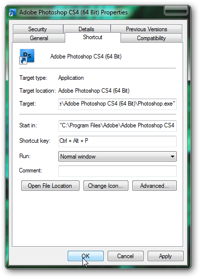 Keyboard shortcut to run any application or program with Windows 7-2