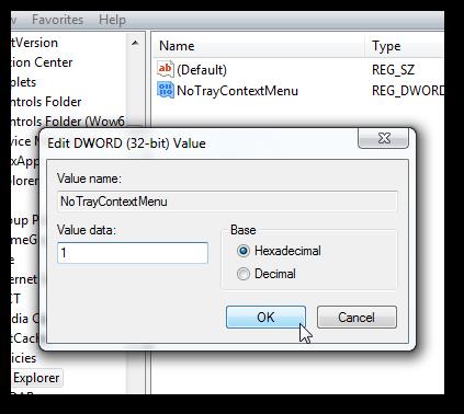 Disable right click on the taskbar in Windows 7-2