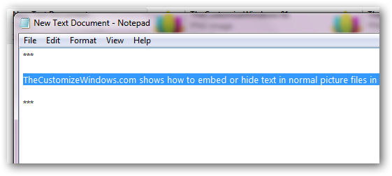How to embed or hide text in normal picture files in Windows 7-1