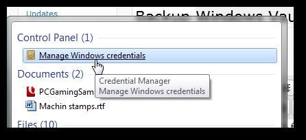 Backup Windows Vault's automatic logon