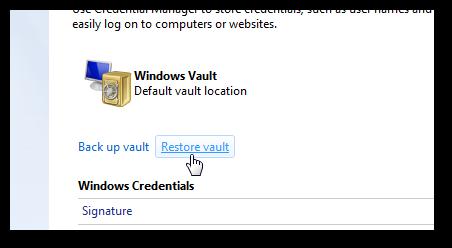 Restore Windows Vault