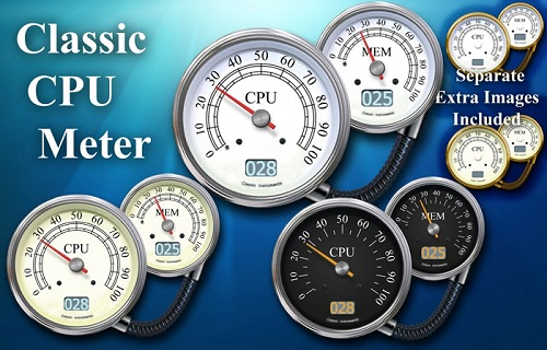 Classic CPU Meter Gadget for Windows 7 PC
