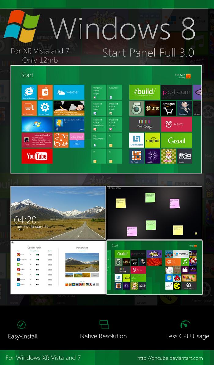 Windows 8 Start Screen For Windows XP,Windows Vista and Windows 7