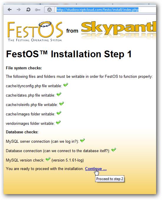 Installing FestOS on Rackspace