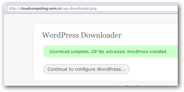Unzip WordPress on Rackspace Cloud Sites