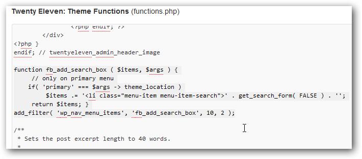 Search in WordPress Navigation Menu