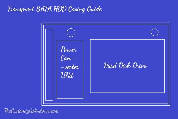 Transprent SATA HDD Casing blueprint