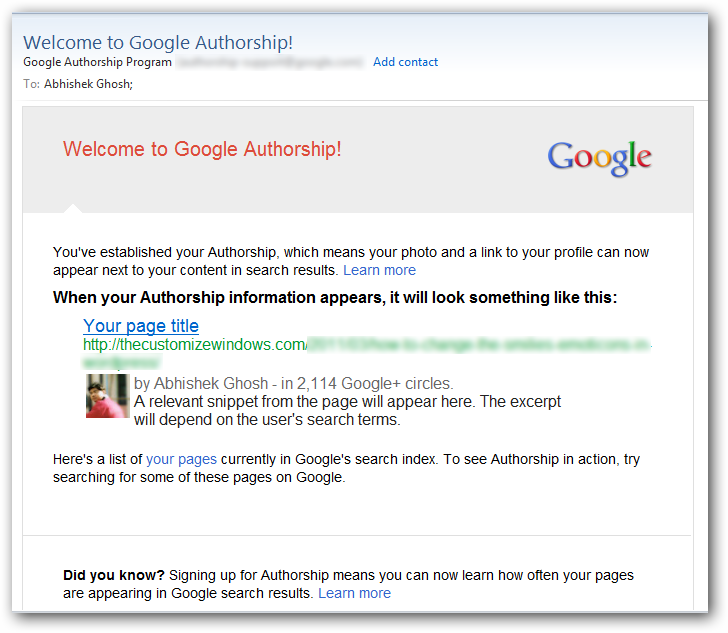 Google Authorship Confirmation Email