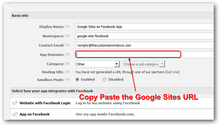 Create Facebook App Page With Free Google Sites