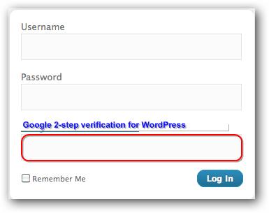 Google 2-step verification for WordPress