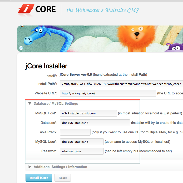 Installing JCore on Rackspace Cloud Sites