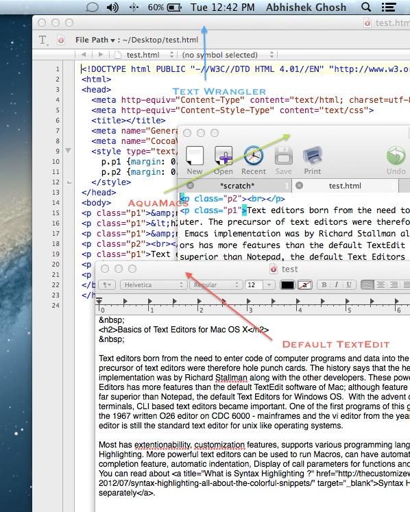 Text Editors for Mac OS X