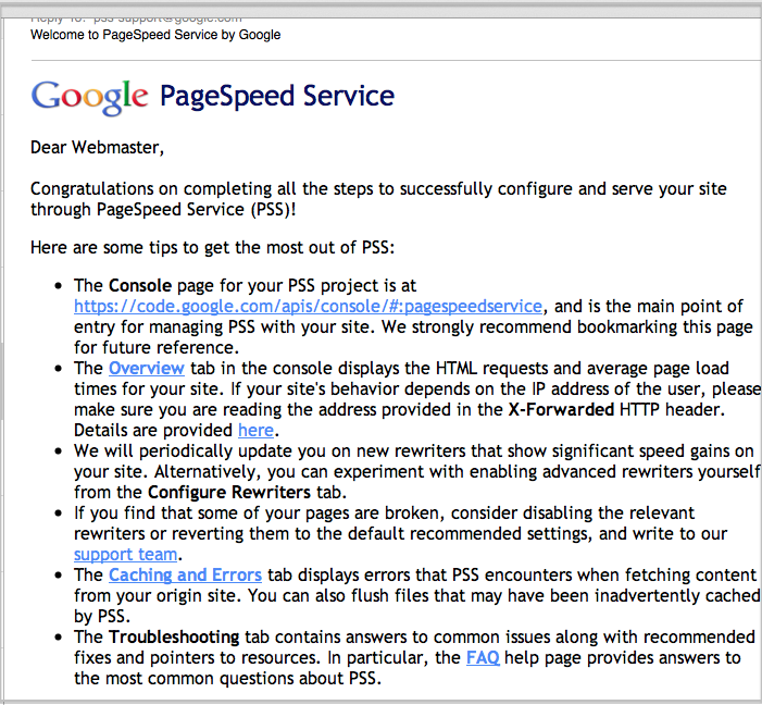 mod_pagespeed and Google PageSpeed Service