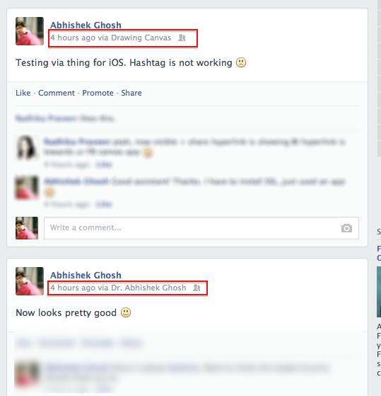 Add Custom Via Name in Facebook Posts