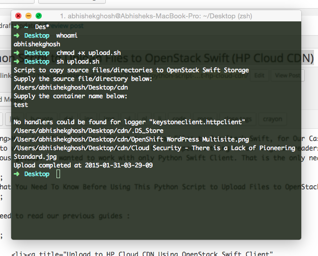 Python Script to Upload Files to OpenStack Swift (HP Cloud CDN)