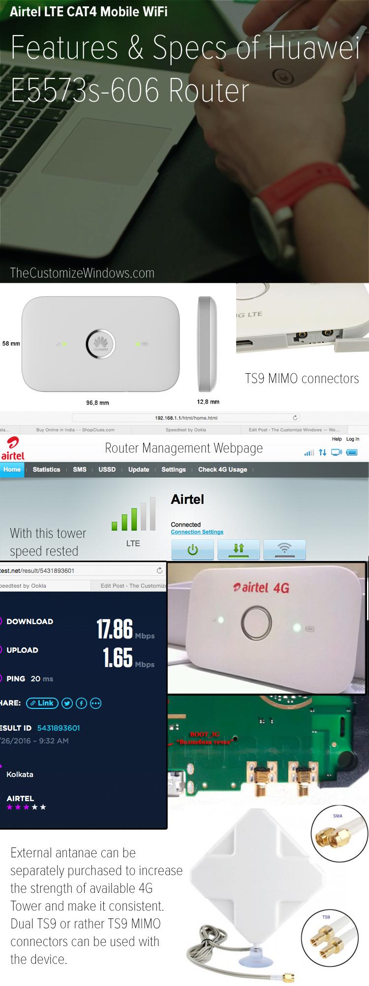 Airtel 4G Huawei E5573 Router WiFi Hotspot