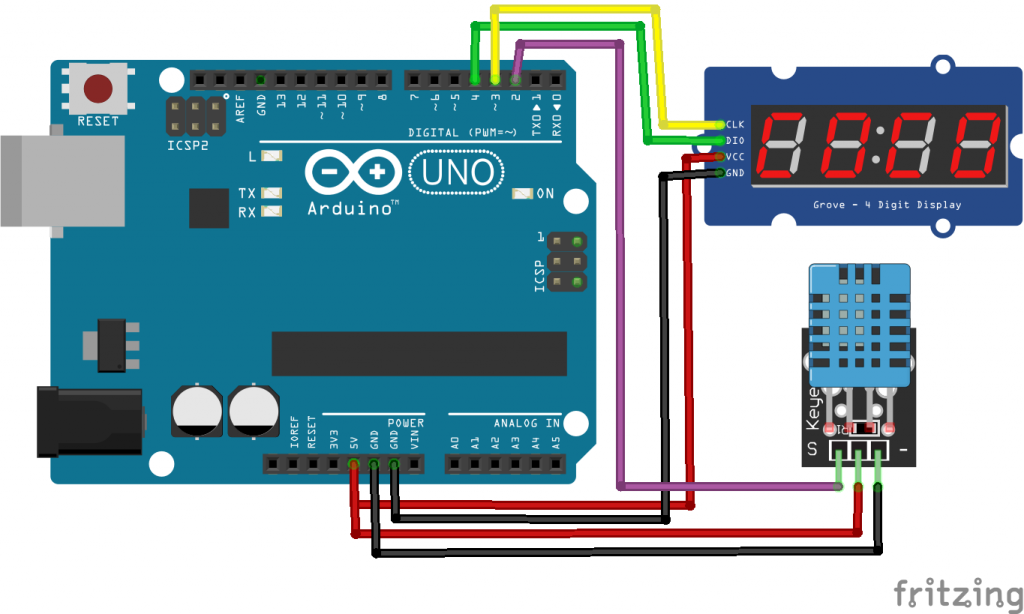 Arduino 7 Segment LED Display Temperature Sensor TM1637 - DHT11