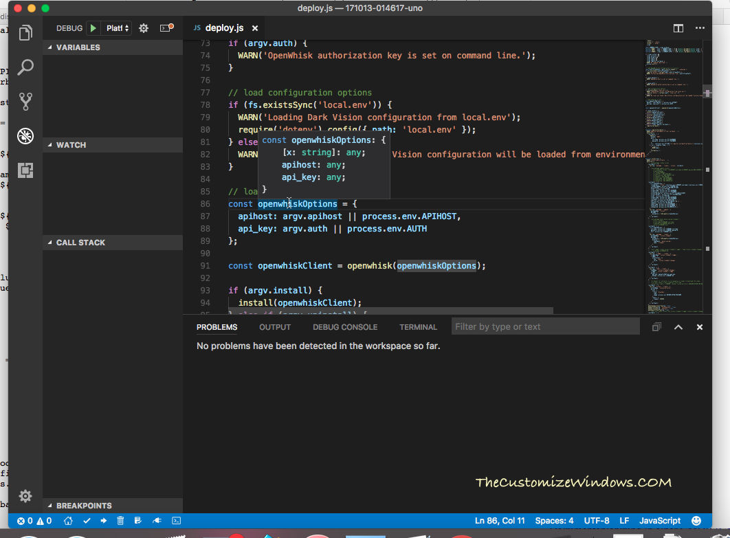 Setup Visual Studio Code For IBM API Bluemix on Mac